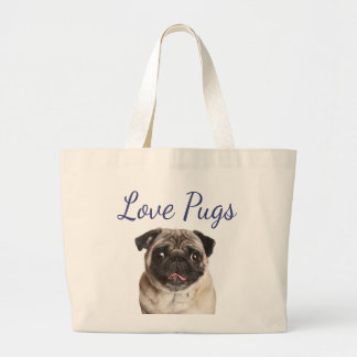 Love Pug Puppy Dog Canvas Totebag Jumbo Tote Bag