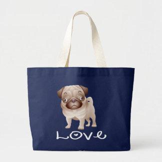 Love Pug Puppy Dog Canvas  Totebag Jumbo Tote Bag