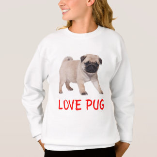 Love Pug Puppy Dog Girls Sweatshirt