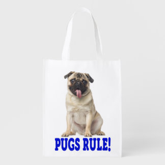 Love Pug Puppy Dog Grocery Reusable Grocery Bag