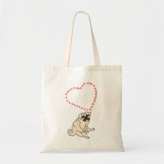Love Pug Tote Bag - Customizable