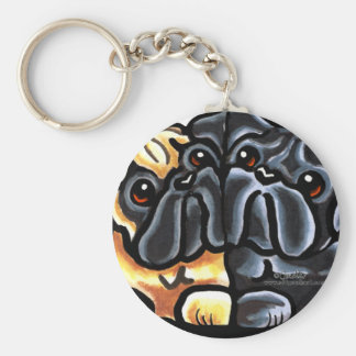Love Pugs Basic Round Button Key Ring