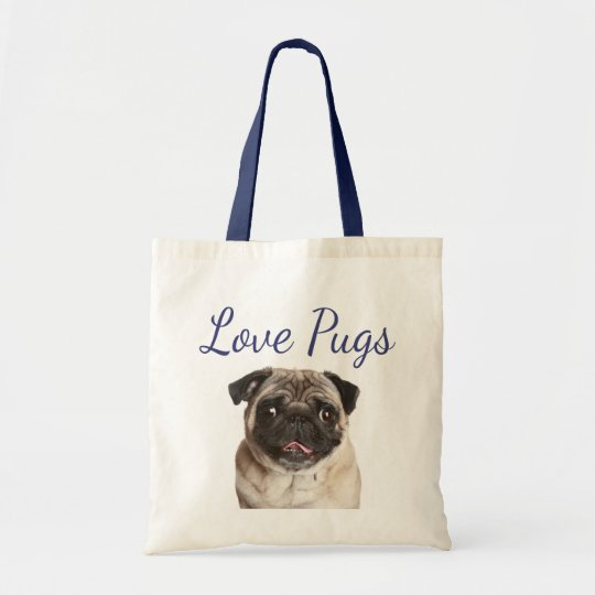 Love Pugs Puppy Dog Canvas Totebag Tote Bag
