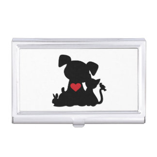 Love Puppy and Kitten Silhouette Business Card Holder