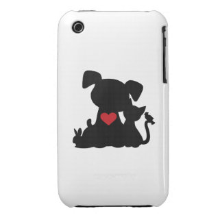 Love Puppy and Kitten Silhouette iPhone 3 Case