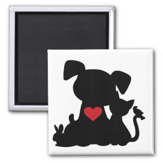 Love Puppy and Kitten Silhouette Refrigerator Magnets