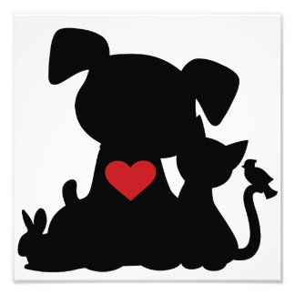 Love Puppy and Kitten Silhouette Photo Art
