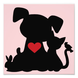 Love Puppy and Kitten Silhouette Pink Photographic Print