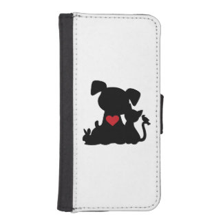 Love Puppy and Kitten Silhouette iPhone 5 Wallet Cases