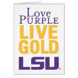 Love Purple Live Gold LSU Logo Greeting Card