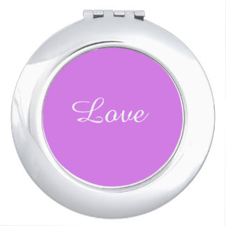 Love Purple Round Compact Mirror