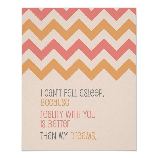 Love quote art print Chevron pattern coral