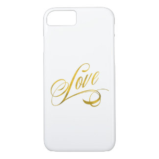 Love Quote Gold Faux Foil Quotes Metallic Wedding iPhone 7 Case