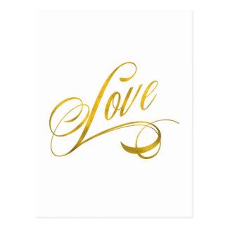 Love Quote Gold Faux Foil Quotes Metallic Wedding Postcard