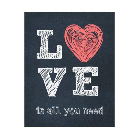 Love Quote Typography Canvas Print