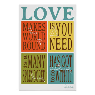 Love Quote Typography Poster 24x36 autumn colors