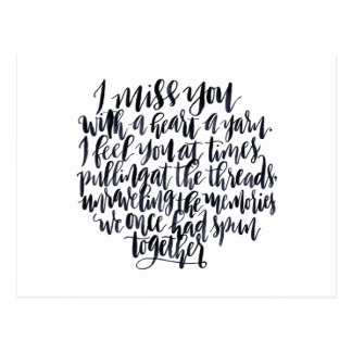 Love Quotes: I Miss You With A Heart Of Yarn Postcard