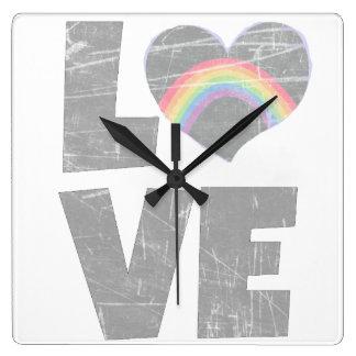 Love Rainbow Heart Clock