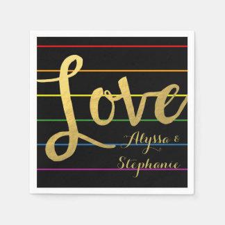 Love Rainbow Pinstripe LGBT Faux Gold Foil Disposable Napkin