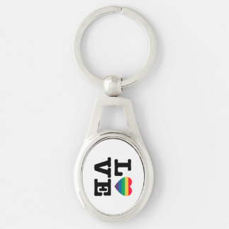 Love Rainbow Pride Metal Keychain Silver-Colored Oval Key Ring