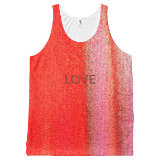 LOVE Red Abstract Watercolor All-Over Printed Tank