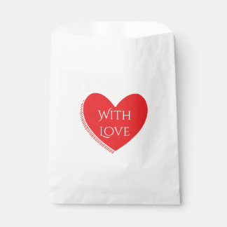 Love Red And White Heart Wedding / Party Favour Bags