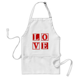 Love - Red and White Stitched Effect Patchwork Standard Apron