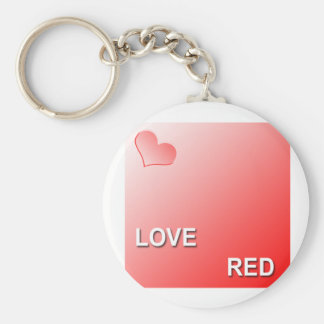 LOVE RED BASIC ROUND BUTTON KEY RING