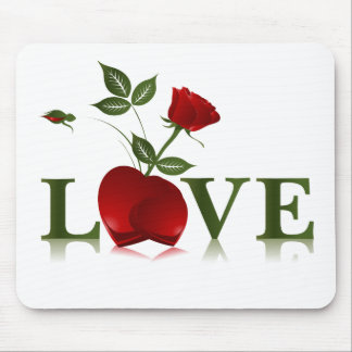LOVE - RED HEART AND ROSE MOUSE PAD