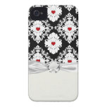 love red heart damask on white black iPhone 4 cover
