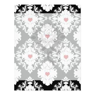 love red heart damask on white black flyer