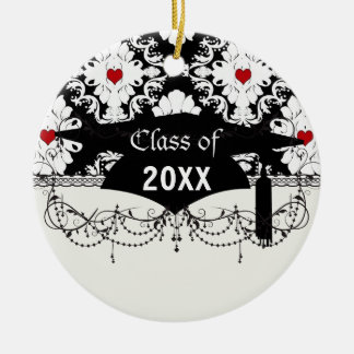 love red heart damask on white black graduation round ceramic decoration