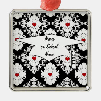 love red heart damask on white black graduation Silver-Colored square decoration