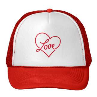 Love, red heart for Valentine's day Hats