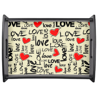Love Red Heart Pattern Serving Tray