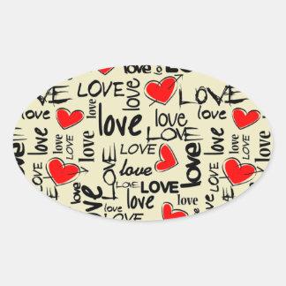 Love Red Heart Pattern Oval Sticker