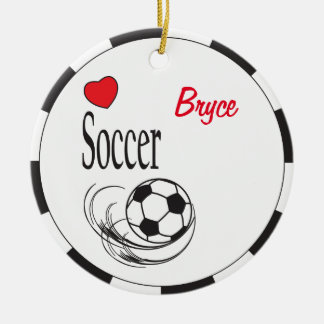 Love Red Heart Soccer Ball Christmas Ornament