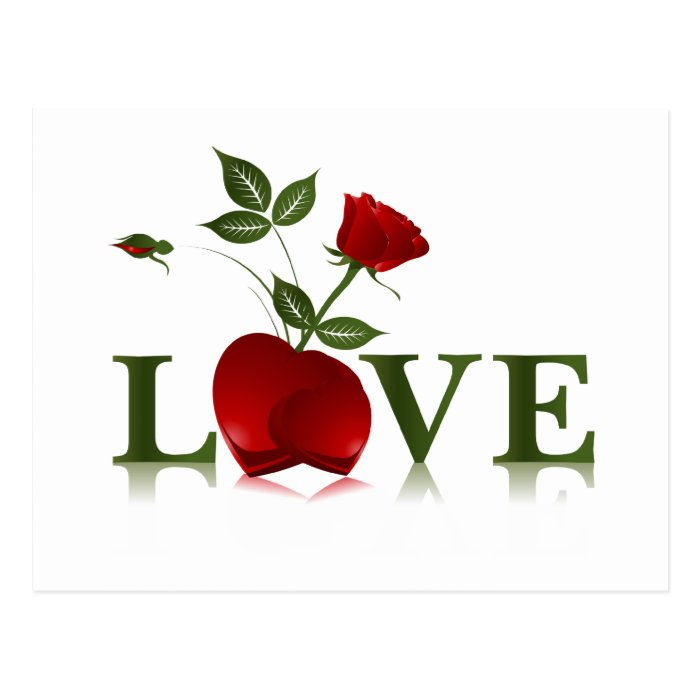 LOVE - RED HEARTS AND ROSE POSTCARD
