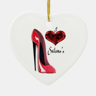 Love Red Stiletto Shoe and 3D Heart  Ornament