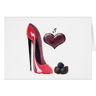 Love Red Stiletto Shoe and Chocolates Art Card