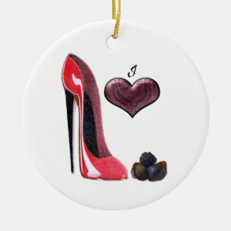 Love Red Stiletto Shoe and Chocolates Ornament