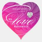 Love Referrals Sticker Jewellery Pink Flower Heart