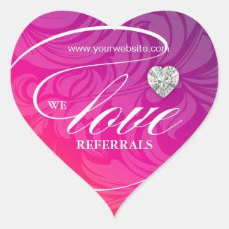 Love Referrals Sticker Jewelry Pink Flower Heart