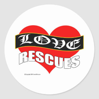 Love Rescues Animal Rescue Products Round Sticker