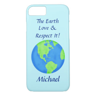 Love Respect Earth Globe Name Personalized Blue iPhone 7 Case