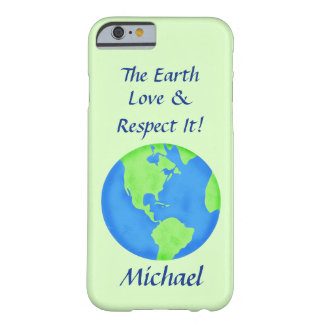 Love Respect Earth Globe Name Personalized Green Barely There iPhone 6 Case