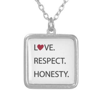 LOVE. RESPECT. HONESTY. Necklace with heart.