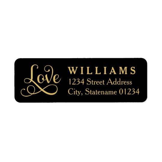 Love Return Address Labels | Gold Script