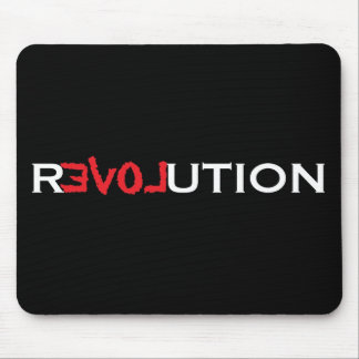 Love Revolution Mousepad - black w/ red and white