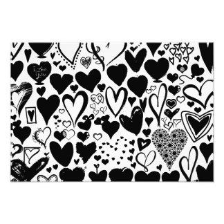 Love, Romance, Hearts - Black White Photographic Print